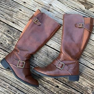 Life Stride Brown Two Tone Riding Boots | Size 5.5